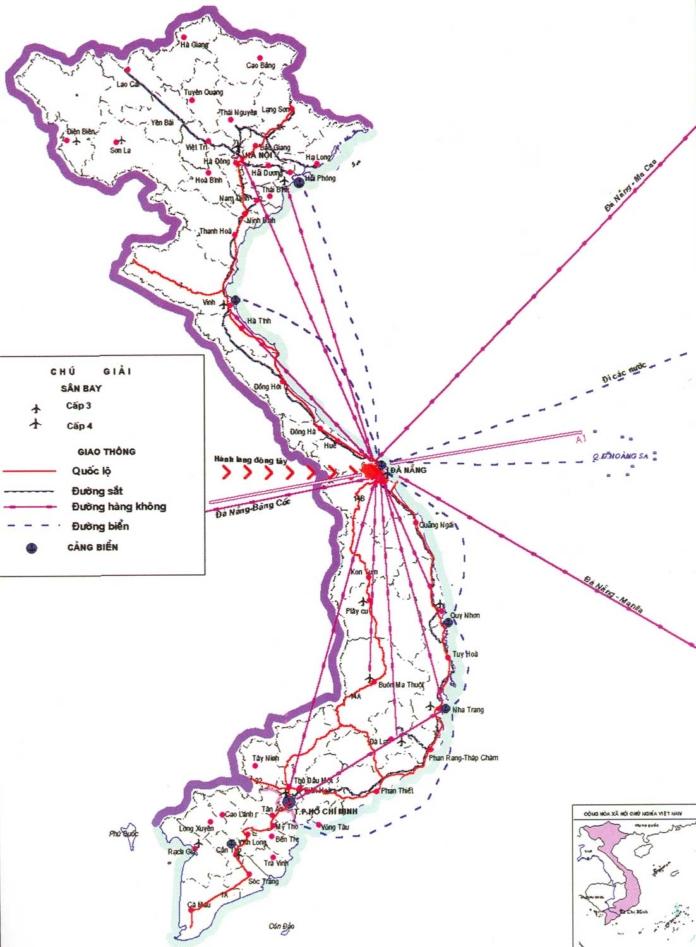 Hình ảnh TP Đà Nẵng trên bản đồ VN. Banthuocdietcontrung.com